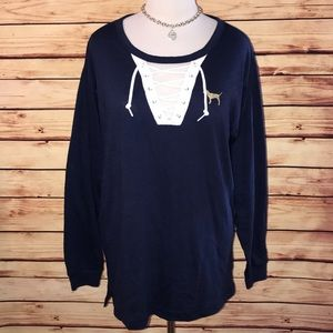 VS PINK Navy Blue Lace Up Studded Detail Tee